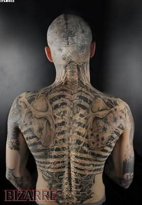 Wonderful Tattooed Zombie Boy On Back