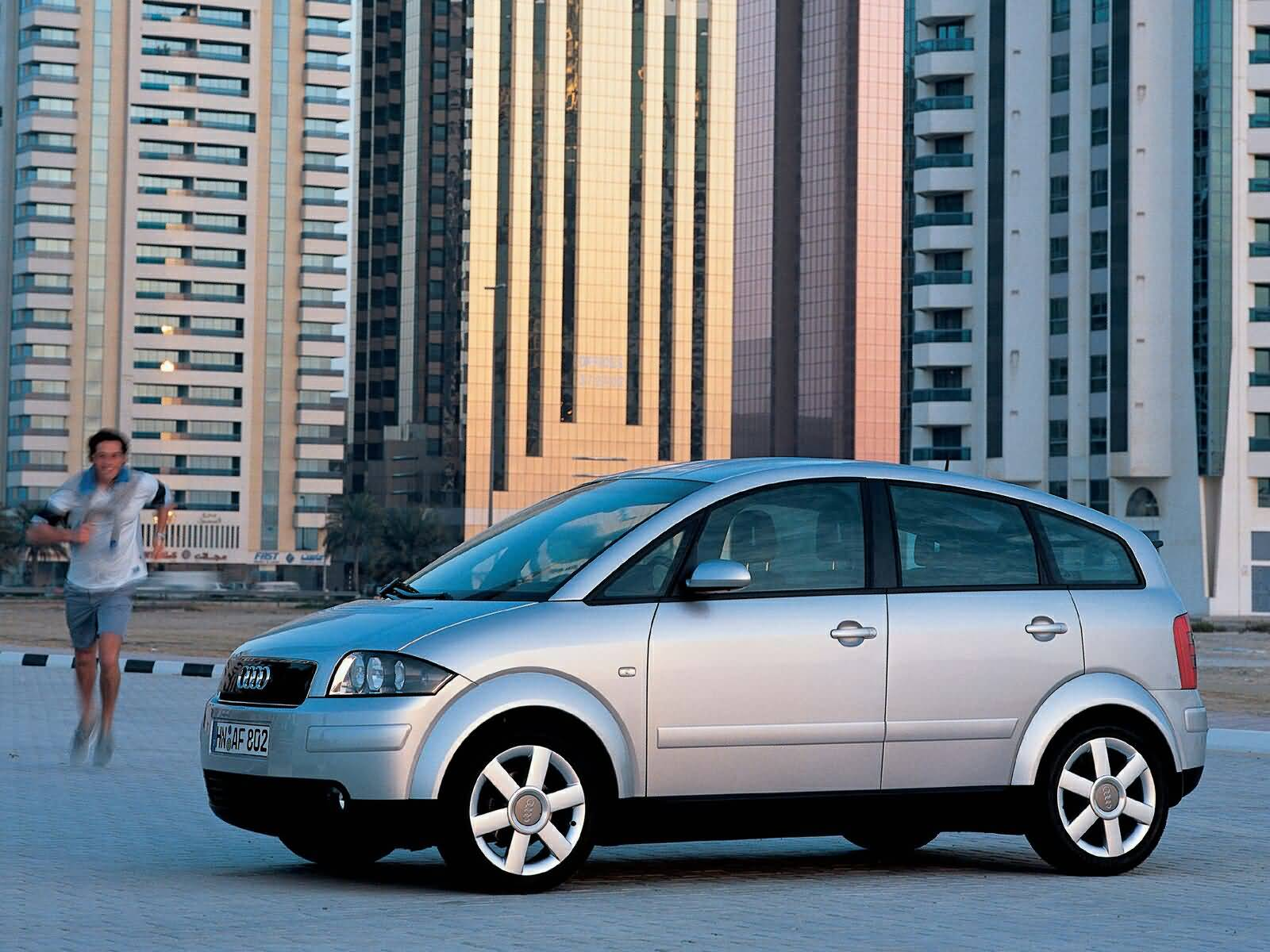 left side of silver Audi A2 car