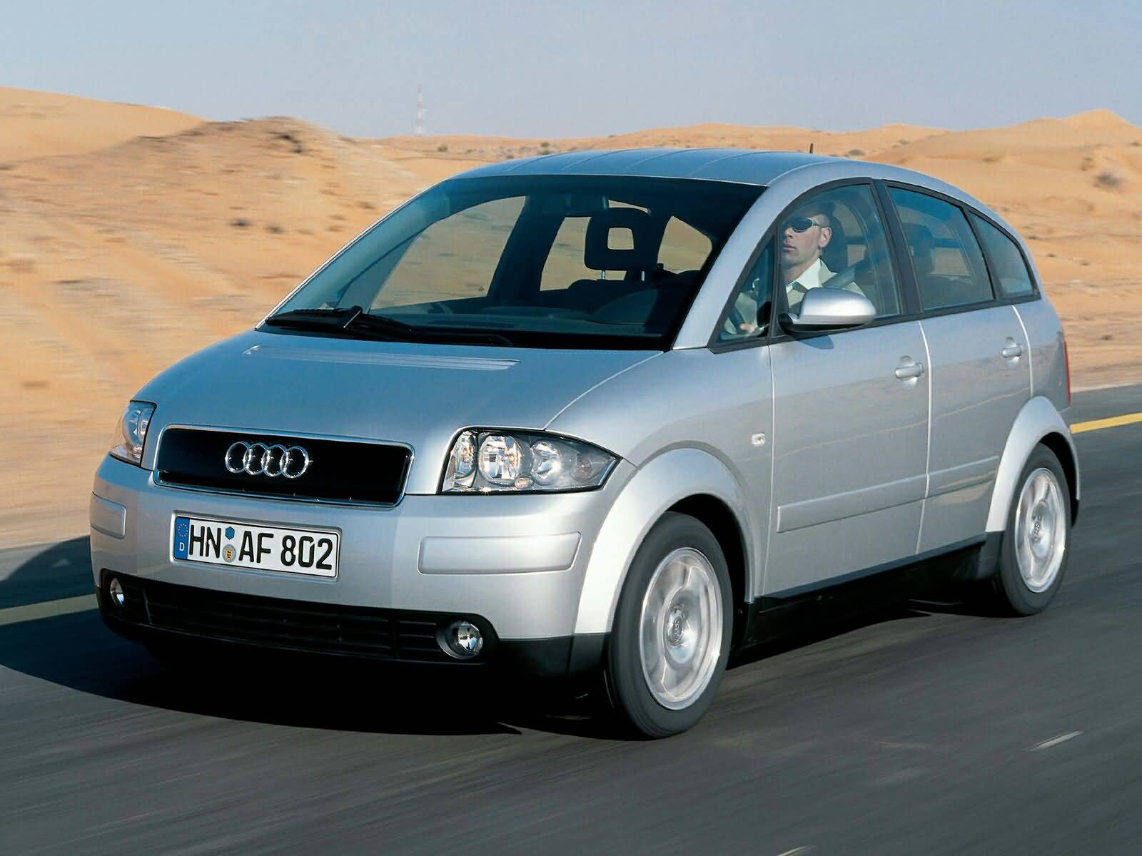 on the road of amazing silver Audi a2 car