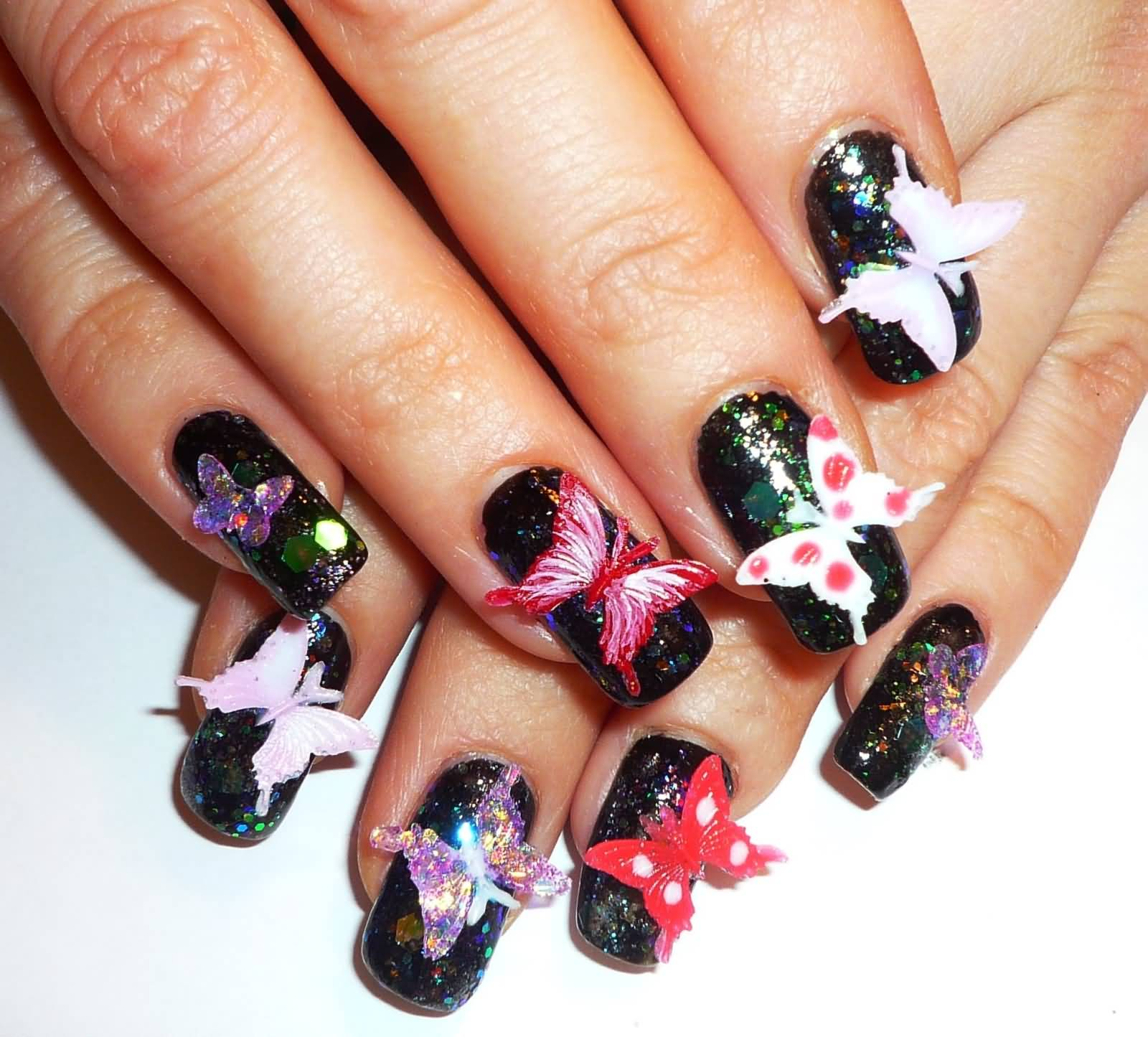 Amazing 3D Butterflies Nail Art With Black Ink