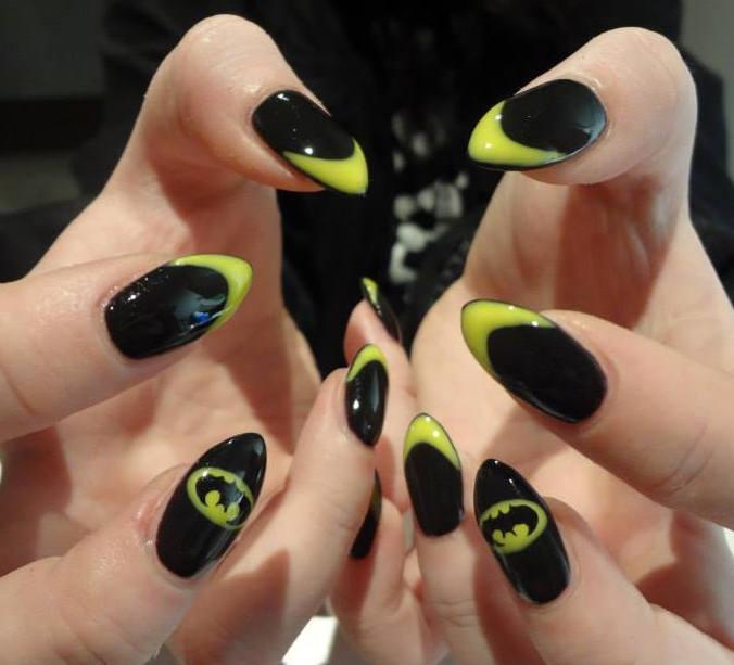676 × 613 in 51 Trending Almond Shaped Acrylic Nails Art .. - Batman Nail - Batman Nail Art Graham Reid