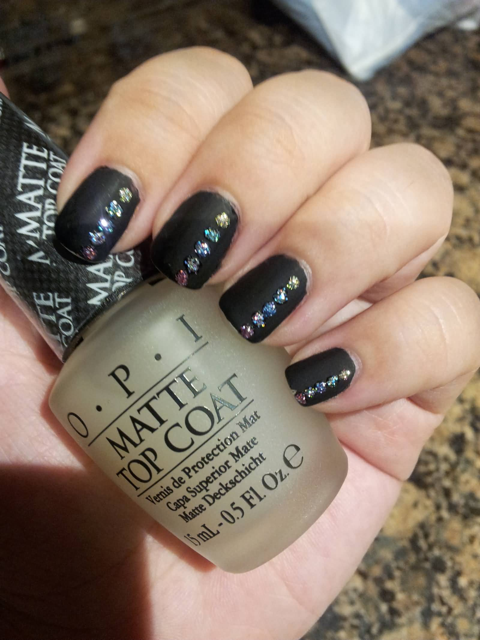 Amazing Black Matte Nails With Colorful Crystal
