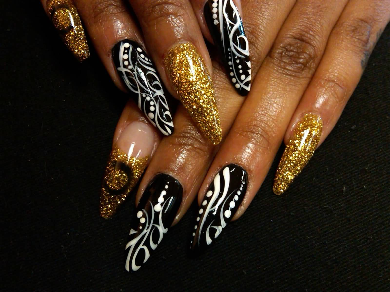 Amazing Black Nail Art Design With White Color And Golden Color