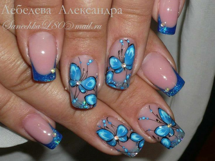 Amazing Butterfly Nail With One Crystal Design