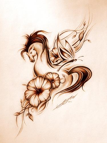 Amazing Horse n Flowers Tattoo Design For Boys