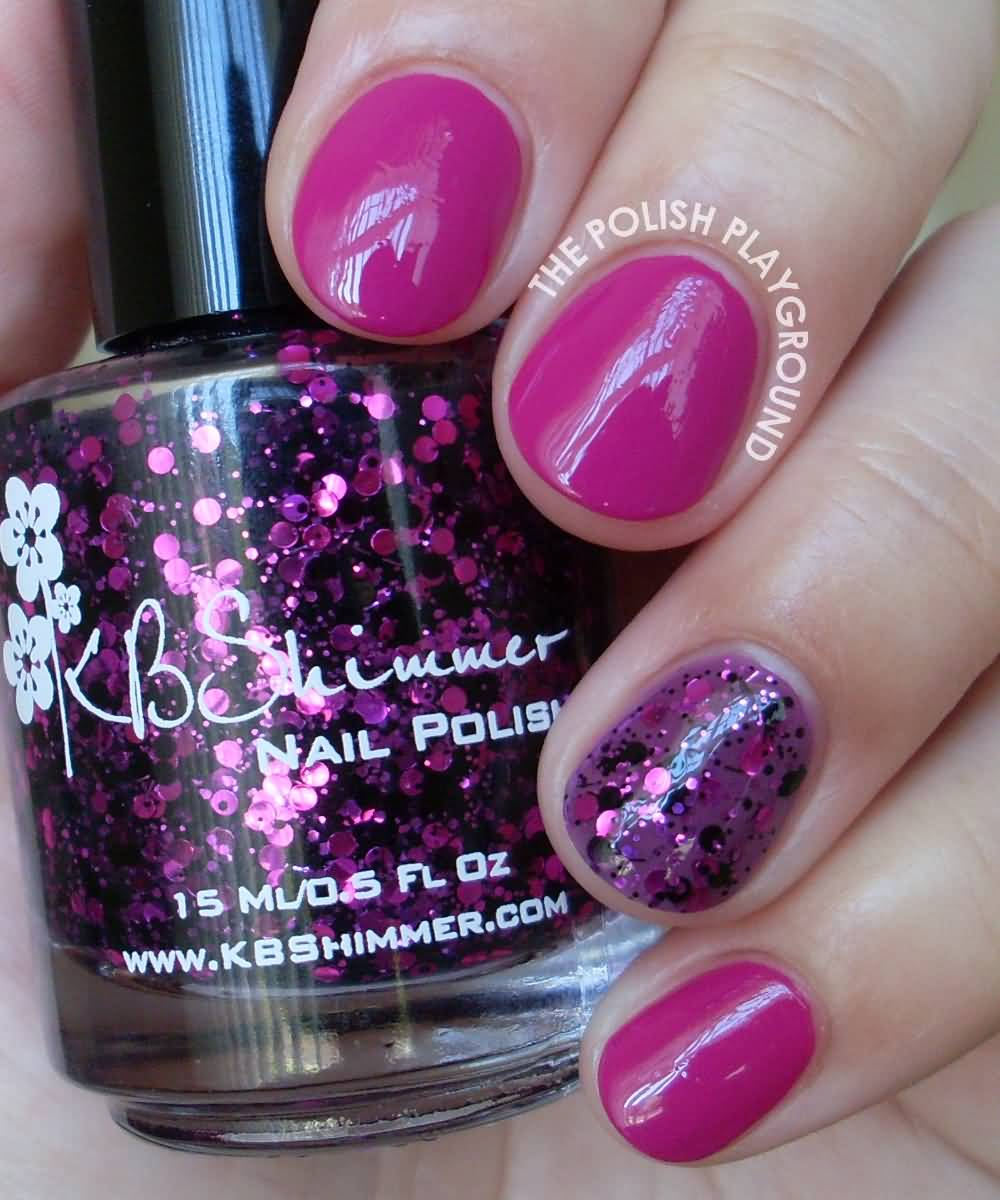 Amazing Pink Nail Paint With sparkle Accent Nail Design