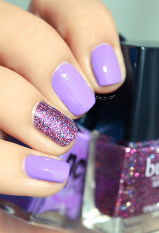 Amazing Purple Color Nail Paint With Sparkle Accent Nail Art