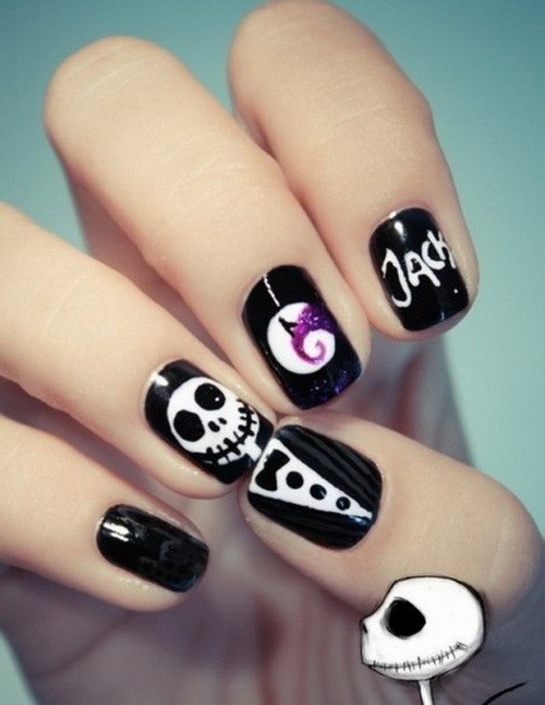 Amazing Skull Face With Suit Black And White Nails