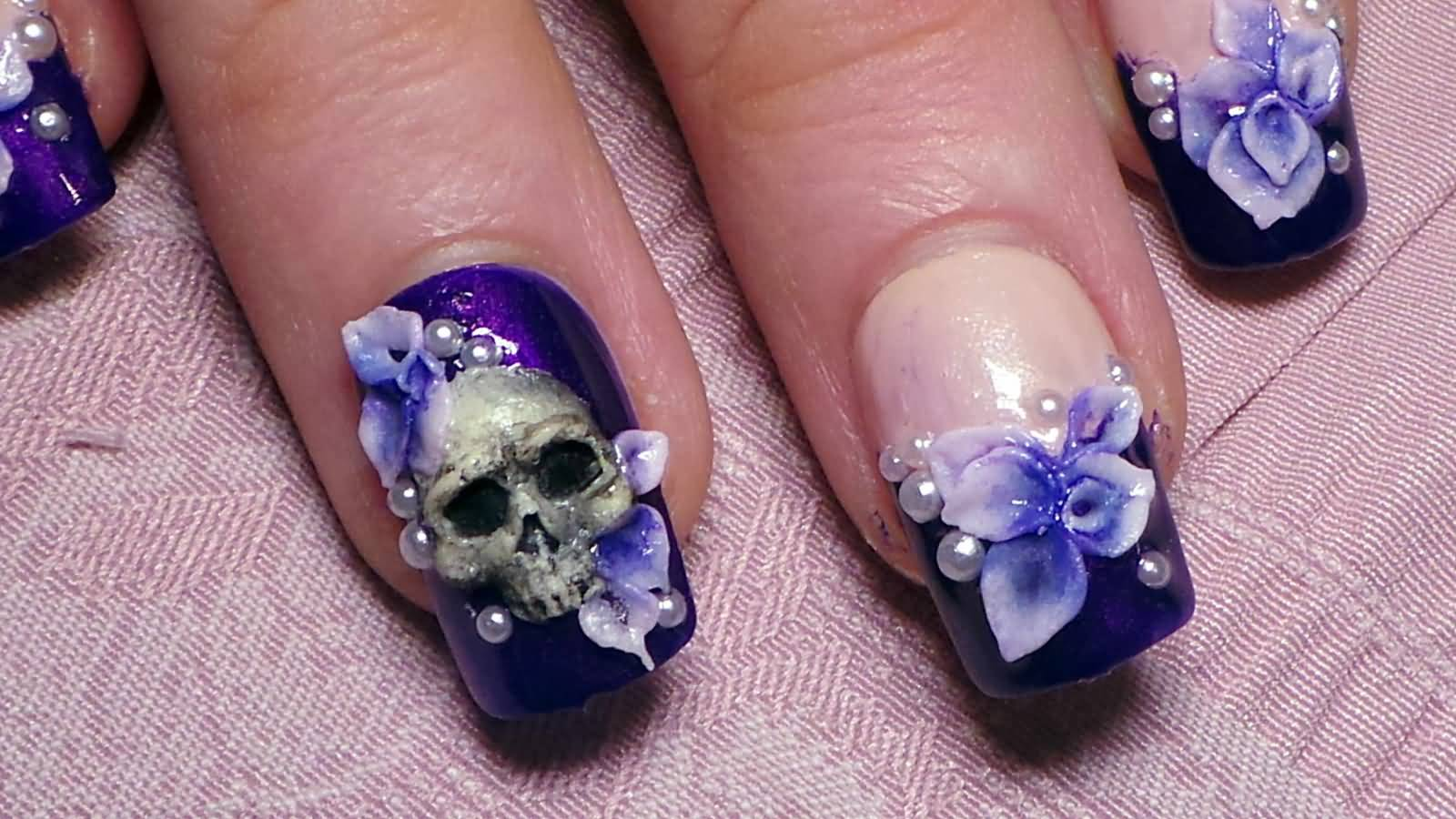Amazing Skull Head 3D Acrylic Nail Art