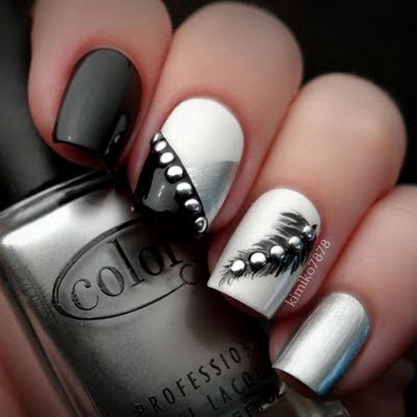 Amazing White And Black Nail Art With Crystal
