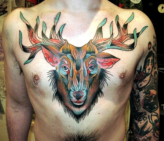 Attractive Deer Head Tattoo For Chest For Boys