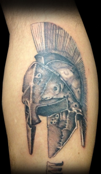 Attractive Helmet Tattoo For Boys