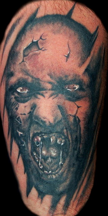 Attractive Horror Zombie Face Tattoo Design For Boys