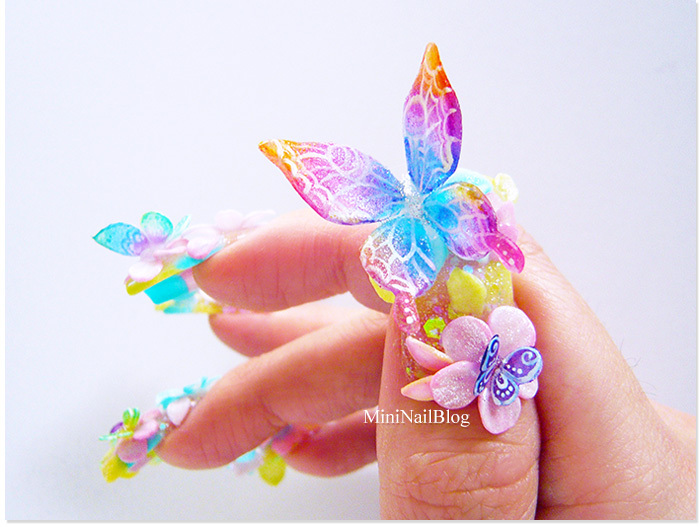 Awesome 3D Butterflies Nail Art With Crystal Look alike Butterfly