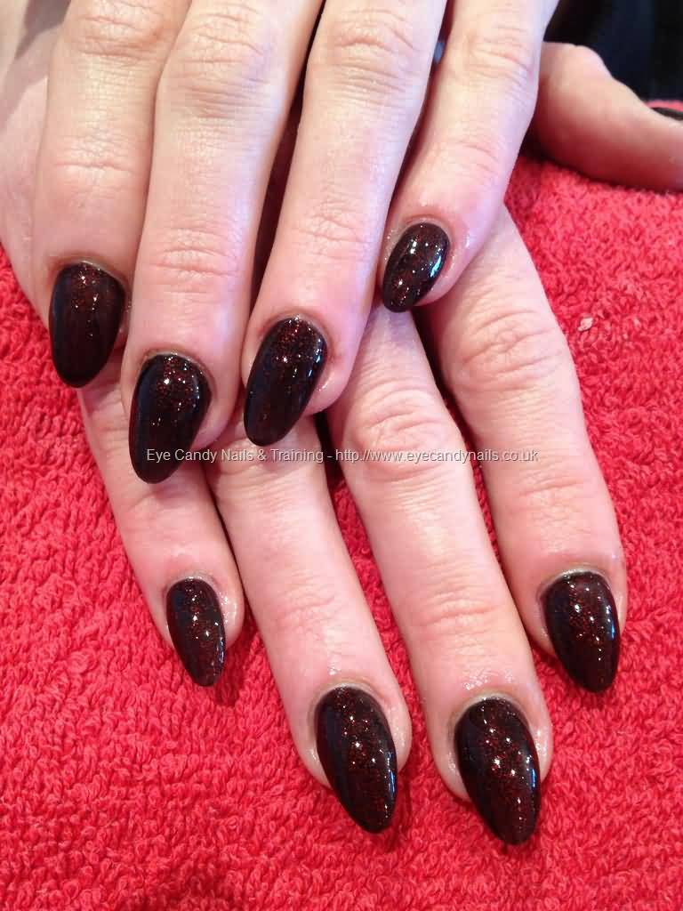 Awesome Black Shaped With Sparkle Almond Shaped Acrylic Nail Art
