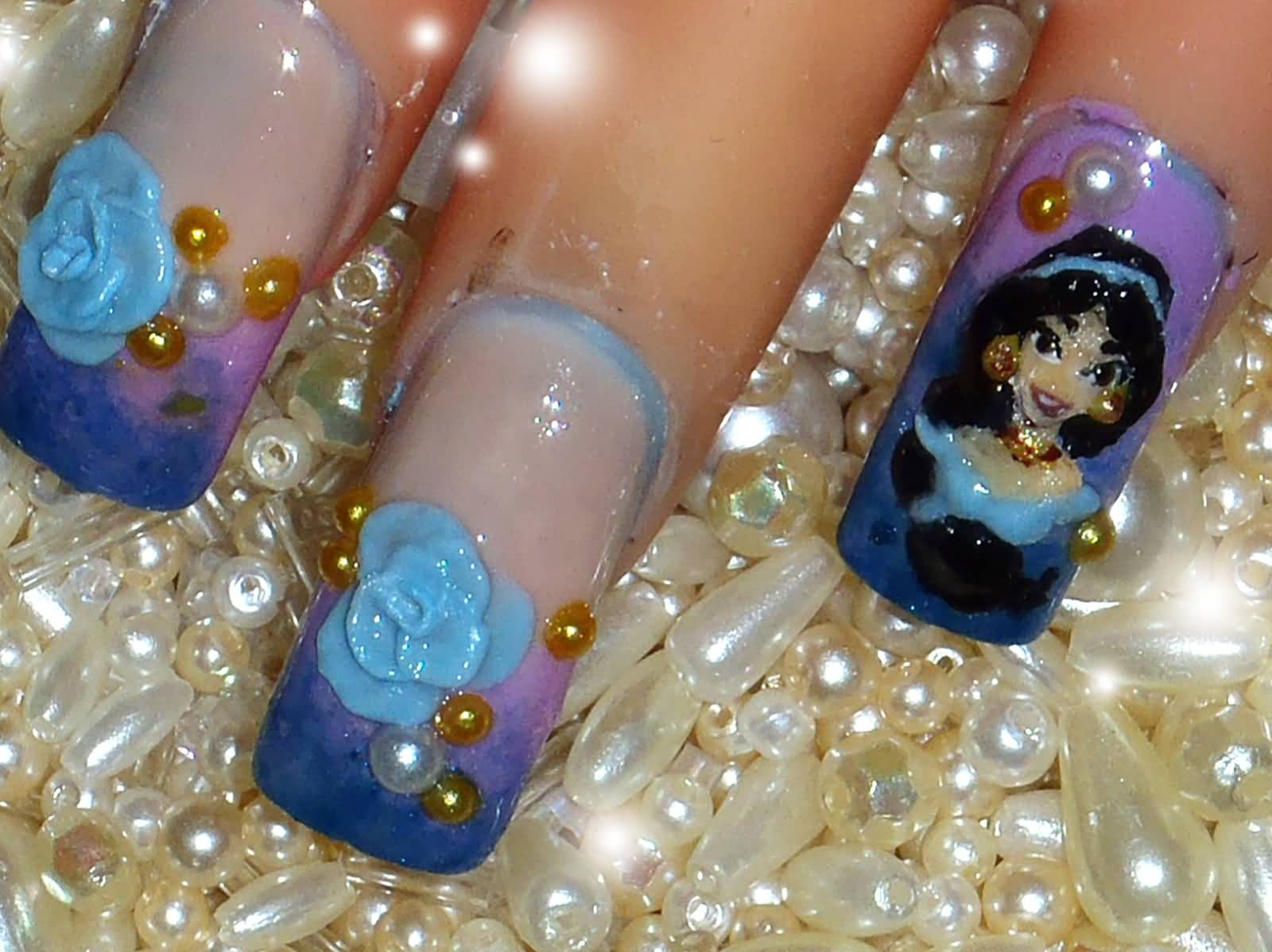Awesome Blue Color And Jasmine 3D Acrylic Nail Art