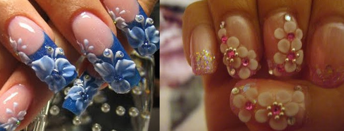 Awesome Blue Color And Pink Color Flower 3D Nail Art