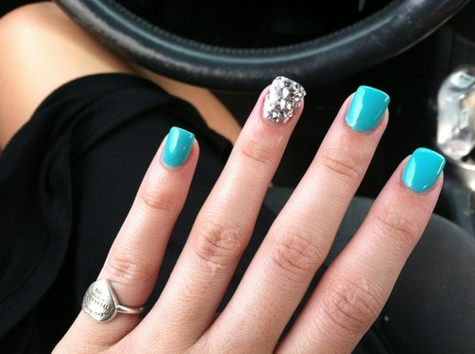 Awesome Blue Color And Silver Color Acrylic Short Nail Design