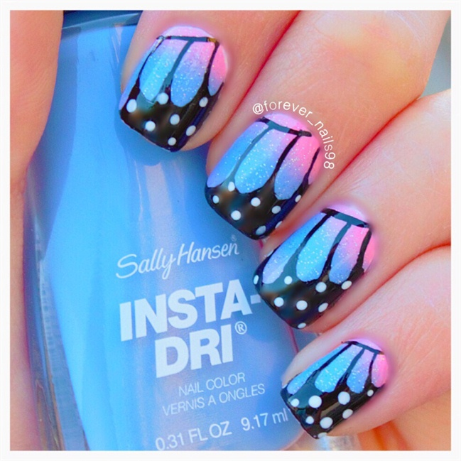 Awesome Butterfly Nail With Feather Design