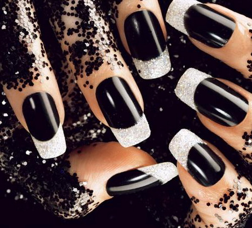 Awesome Full Black With White Tip Black Acrylic Nail Art