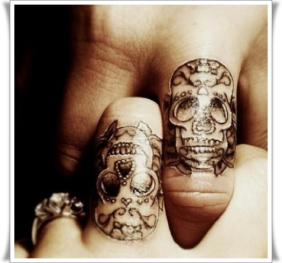 Awesome Sugar Skull Finger Tattoo Designs For Girls