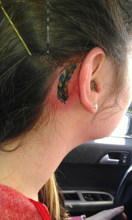 Best Ever Back Ear Feather Tattoo Design For Girls