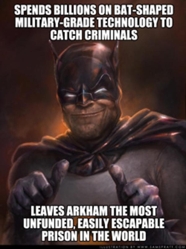 Batman Meme Spends Billions On Bat Shaped Military Grade Technoloy Image