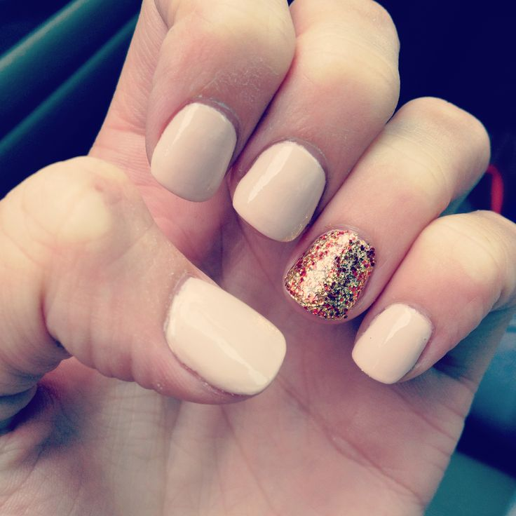 Beautiful Baby Pink With Golden Shade Glitter Accent Nail Art
