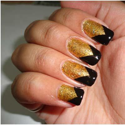 Beautiful Black French Tip Nails With Golden Design