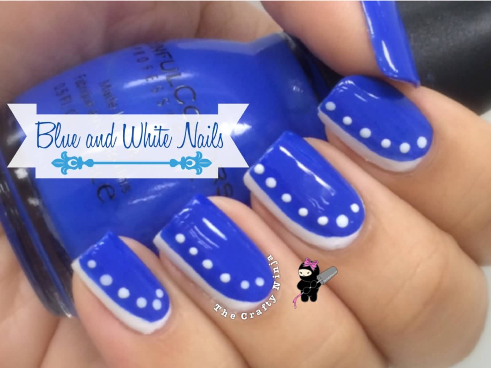 Beautiful Blue Nails With White Color Dot