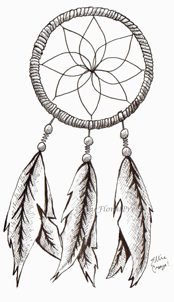 Beautiful dream catcher tattoo stencil for girls for Dream catcher tattoo template