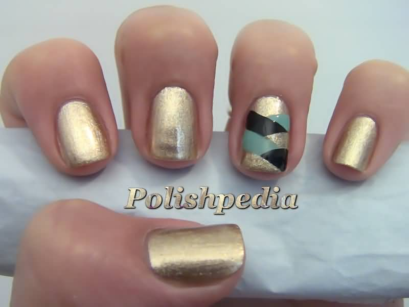 Beautiful Golden Nail Art With Stripes Accent Nail Art