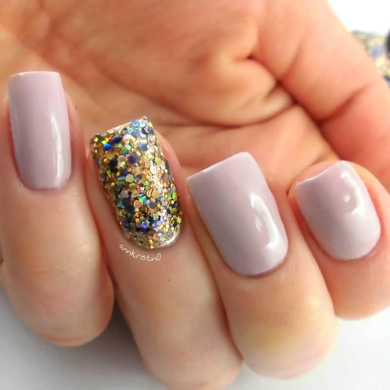 Beautiful Purple With Soarkle Glitter Accent Nail Art