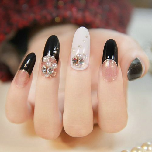 Beautiful White And Black Nail Art With Small Pearls