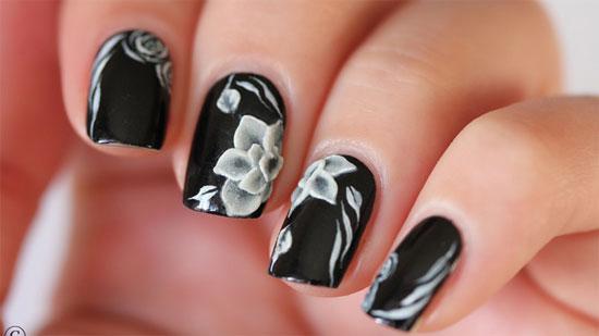 Beautiful White Color Flower Black Acrylic Nail Art