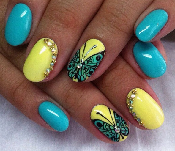 Beautiful Yellow And Blue Nails With Butterfly Design