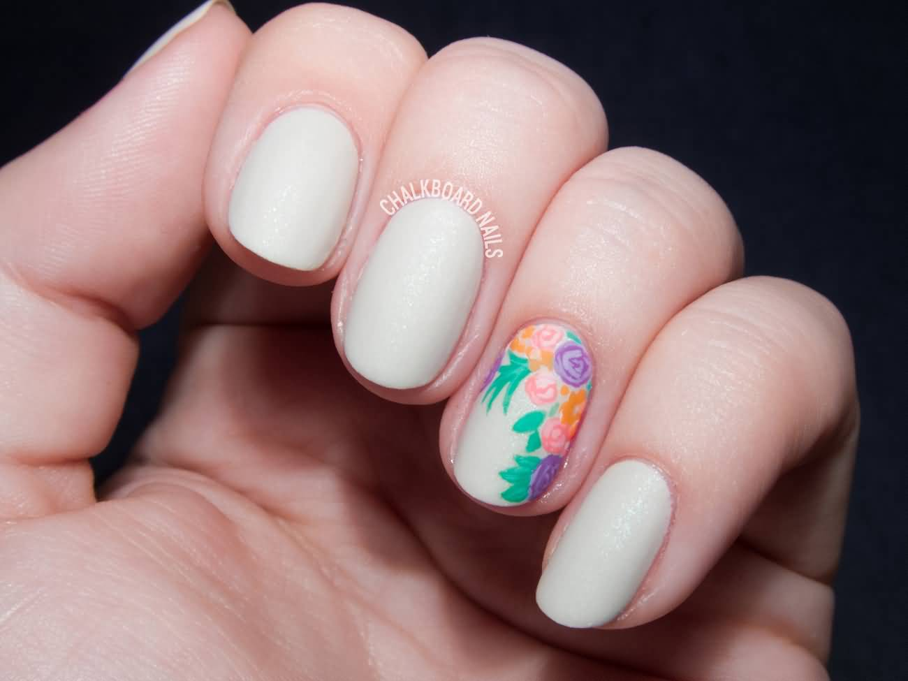 Beautiful baby Pink With Colorful Flower Accent Nail Art