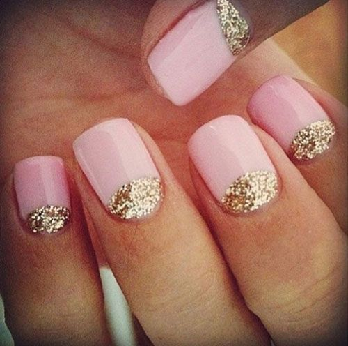 Best Baby Pink With golden Sparkling Color Design Acrylic Short Nail Design