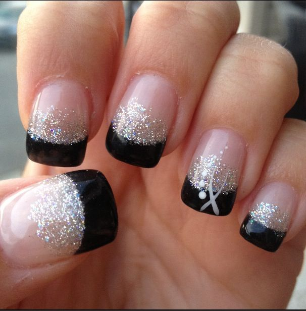 Best Black French Tip Nails With Silver Paint