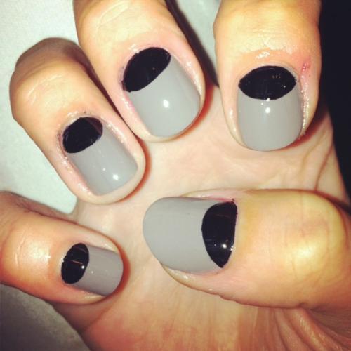 26 stunning black half moon nail art design styles picsmine best black half moon nail with grey nails prinsesfo Image collections