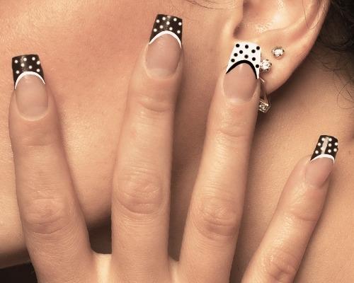 Best Ever Black And White Polka Dot Nail Art On tips