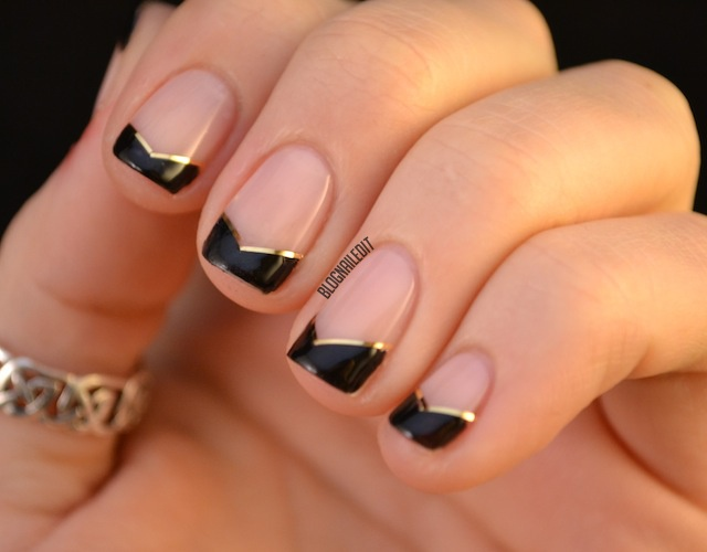 Best Ever Black French Tip Nails With V Shaped Nail