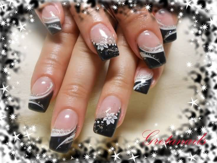 Best Ever Black French Tip Nails With White Flower