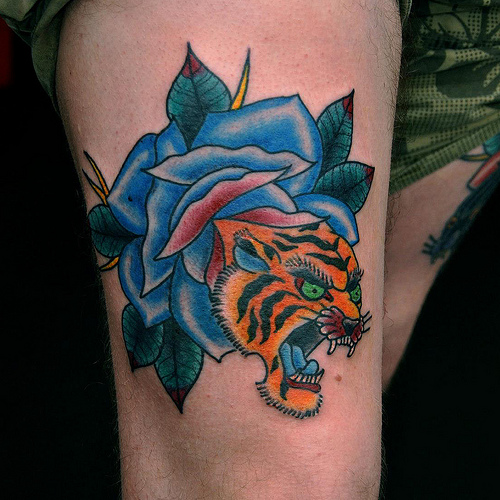 Best Ever Crawling Tiger Head Tattoo Design For Girls