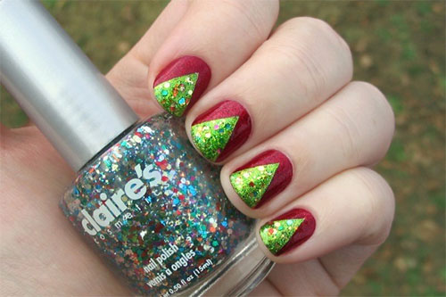 Best Ever Green With red Color Combination Acrylic Short Nail Design