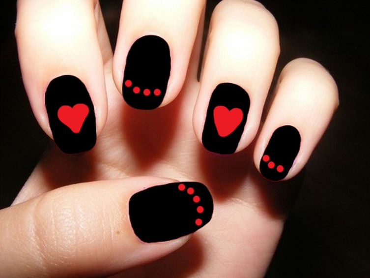 Best Ever Red And Black Nails With Heart Shape