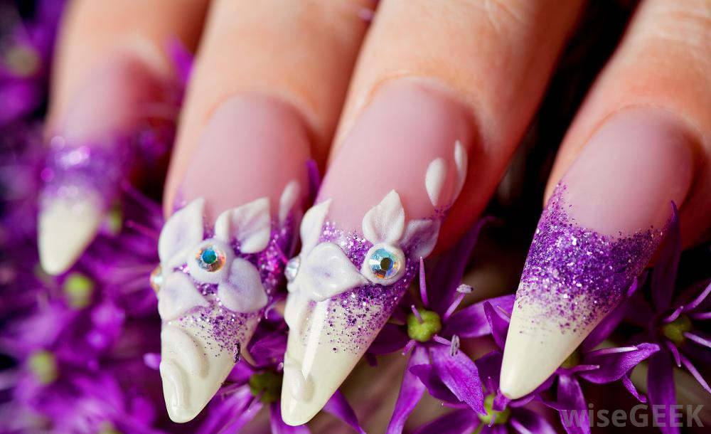 Best Ever Sharp Nail With White Flower 3D Acrylic Nail Art