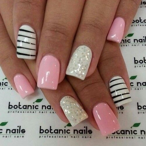 Best Ever White And Black Nail Art And A Pink Paint