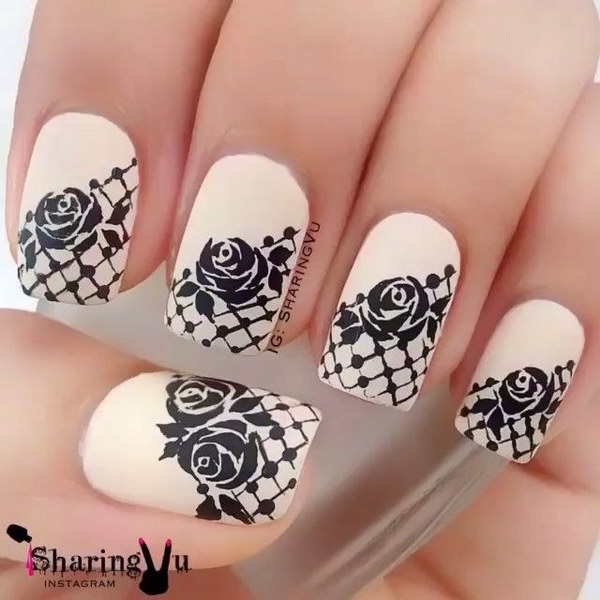Best Ever White And Black Nail Art With Rose Flower