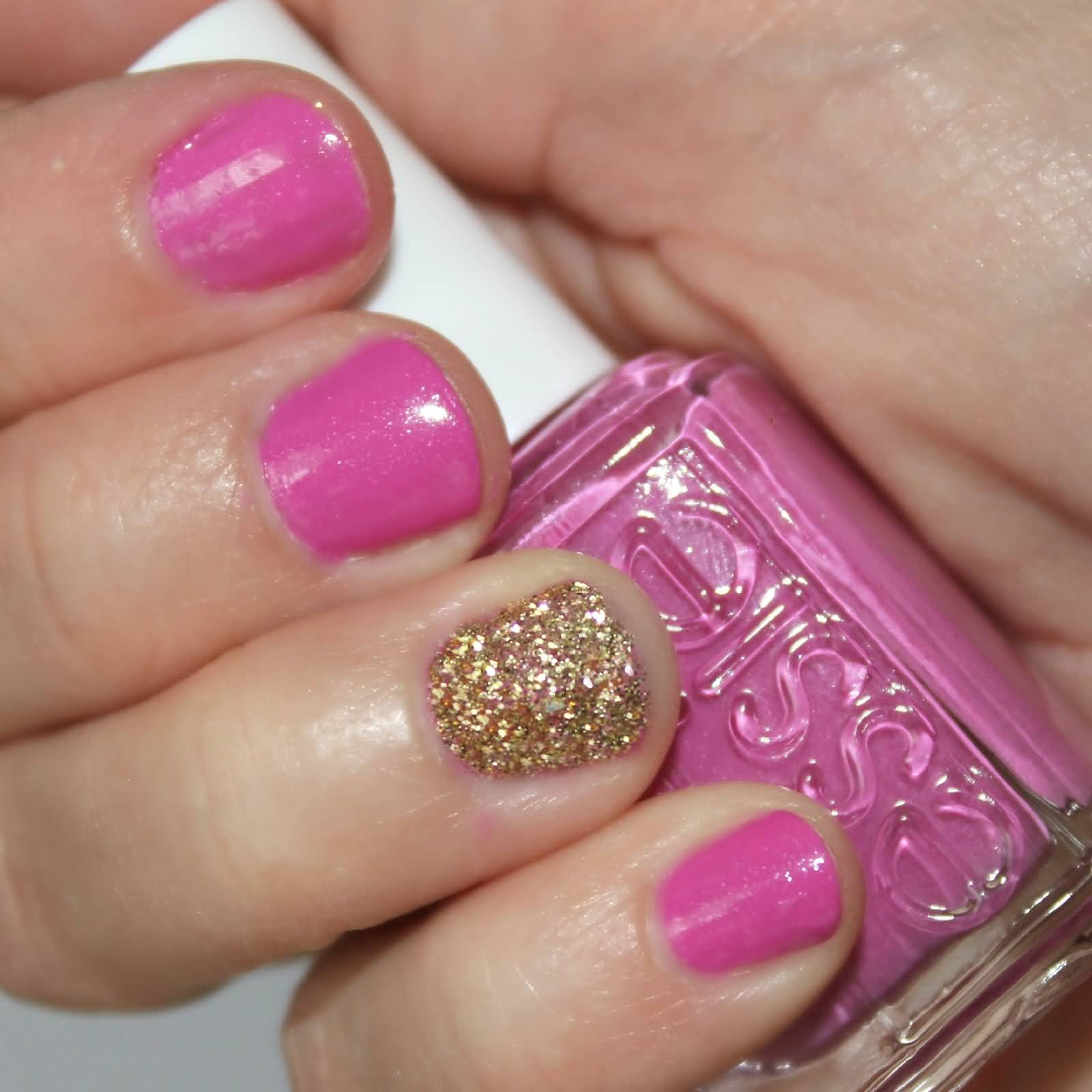 Best Girlish Pink Glitter Accent Nail Art
